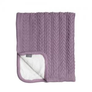 Vinter & Bloom Filt Rosa Stickad med fleecefoder (Cuddly Soft Pink)