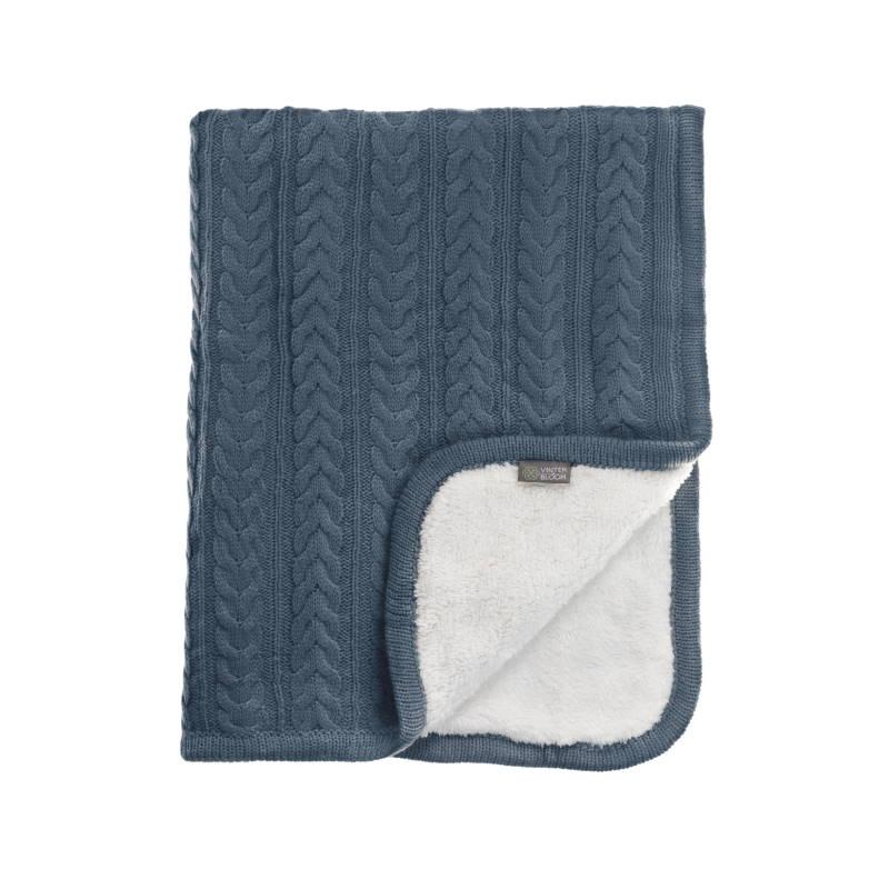 Vinter & Bloom Filt Blå Stickad med fleecefoder (Cuddly Storm Blue)