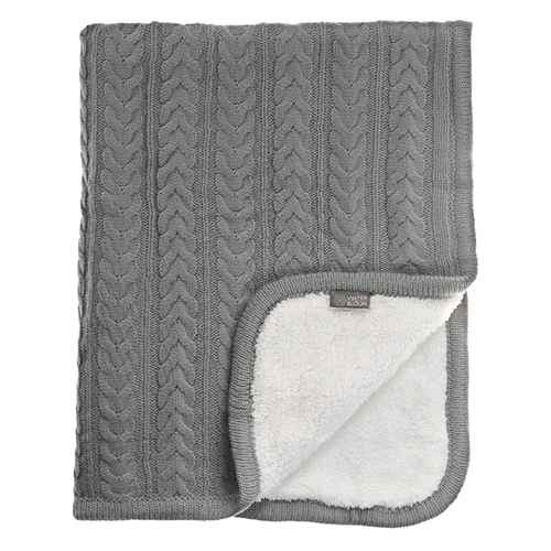Vinter & Bloom Blanket Grey Knitted with Fleece (Cuddly Dove Grey)