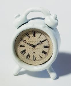Klocka - bordsur - vit