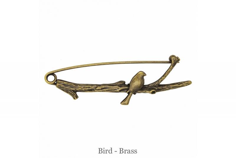 Sjalnål fågel på gren brons