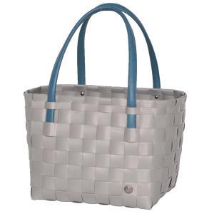 Colorblock brushed grey - flätad väska