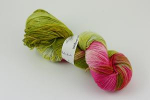Hallonbuske - handfärgat sockgarn 100g