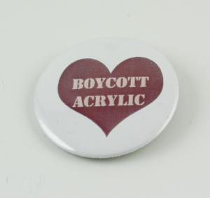 Boycott acrylic pin
