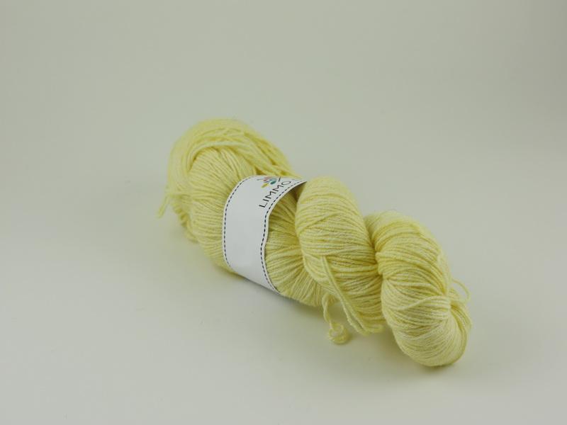 Citron - handfärgat sockgarn ull/bomull 100g