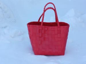 Paris korallröd - flätad väska