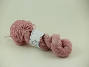 Rosa pelargon - Sockgarn ull/bomull 100g