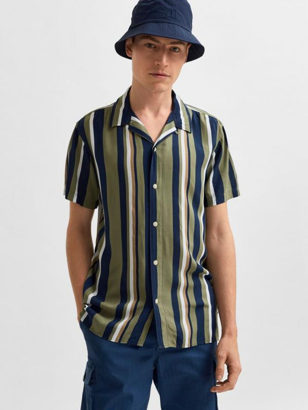 SLHREGMICHAEL SHIRT SS STRIPES W
