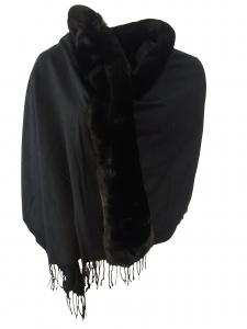 Cape/sjal med pälskrage
