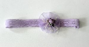 Mjuk hårband med blomma - lavenderlila