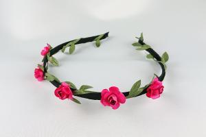 Diadem med små blommor - fuschia
