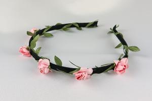 Diadem med små blommor - rosa