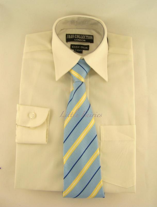 Finskjorta - gräddvit med slips