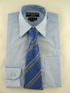 Finskjorta - ljusblå med slips