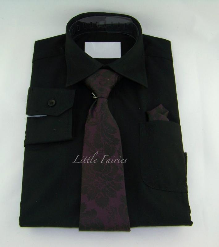 Finskjorta - svart med slips och näsduk