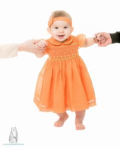 Smockad barnklänning Orange