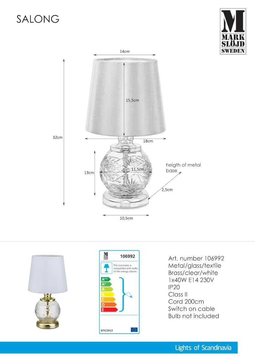 SALONG Bordslampa 1L 32cm MässingVitKlar