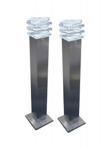 CRYSTAL LED Pollare 2-Pack Start Rostfritt Stål 50cm