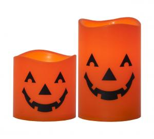 HALLOWEEN LED Blockljus 2-pack 11,5cm Orange
