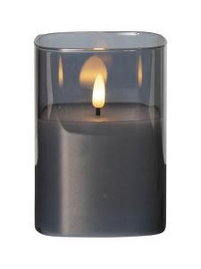 FLAMME LED-Blockljus 12,5cm Rökfärgat Glas