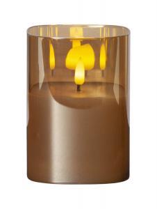 FLAMME LED-Blockljus 12,5cm Amberfärgat Glas