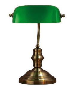 BANKERS Bordslampa 1L 42cm Oxid/Grön