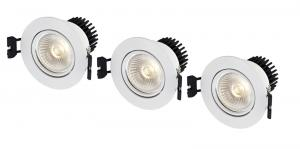 APOLLO Downlight 3-Set 8,6cm Vit