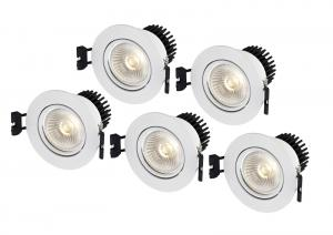 APOLLO Downlight 5-Set 8,6cm Vit