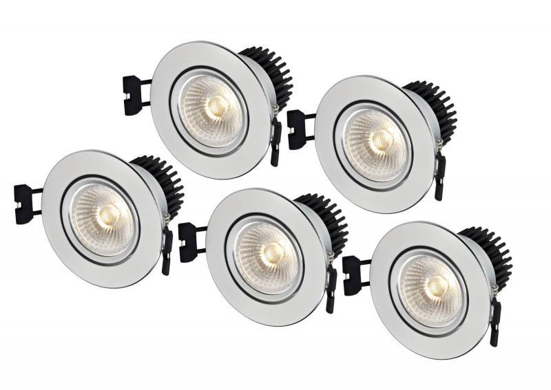 APOLLO Downlight 5-Set 8,6cm Aluminium