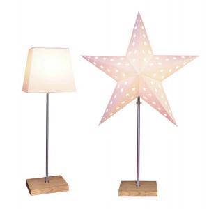 LEO Stjärna & Skärm på fot 43cm Vit/Ek