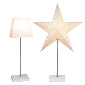 LEO Stjärna & Skärm på fot 43cm Vit