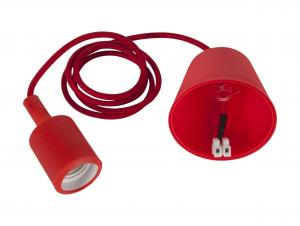 E27 Sladdställ Color Textil 1,2m Röd