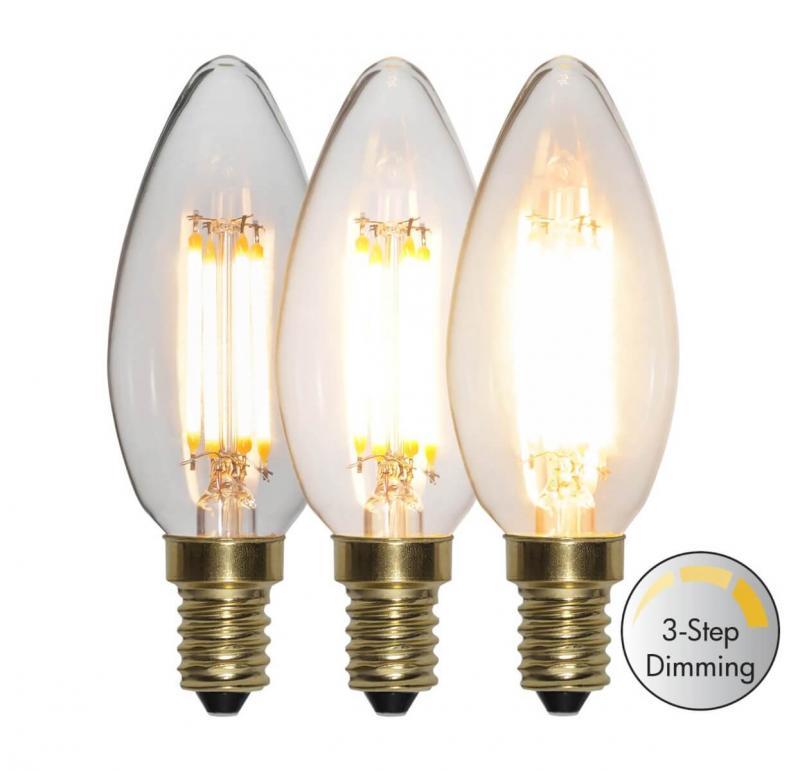 E14 Kronljus 3-stegs Dimmfunktion 4W 2100k 400lm LED-lampa