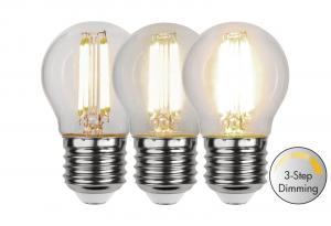 E27 Klot 3-Stegs Dimbar 4.2W 3000K 470lm Klar LED-Lampa
