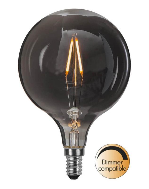 E14 Heavy smoke SoftGlow Glob95 1.4W 2100K 55lm LED-Lampa
