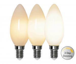 E14 Opal 3-Stegs Dimmer Ra90 Kronljus 4W 2700k 380lm LED-Lampa