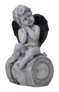 ANGEL Solcells-Dekoration 23cm Grå