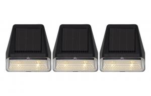 WALLY MINI 3-Pack Solcells-vägglykta 7,5cm Svart Varmvit IP44