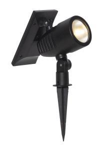 POWERSPOT Solcells-spotlight 20cm Svart Varmvit IP44