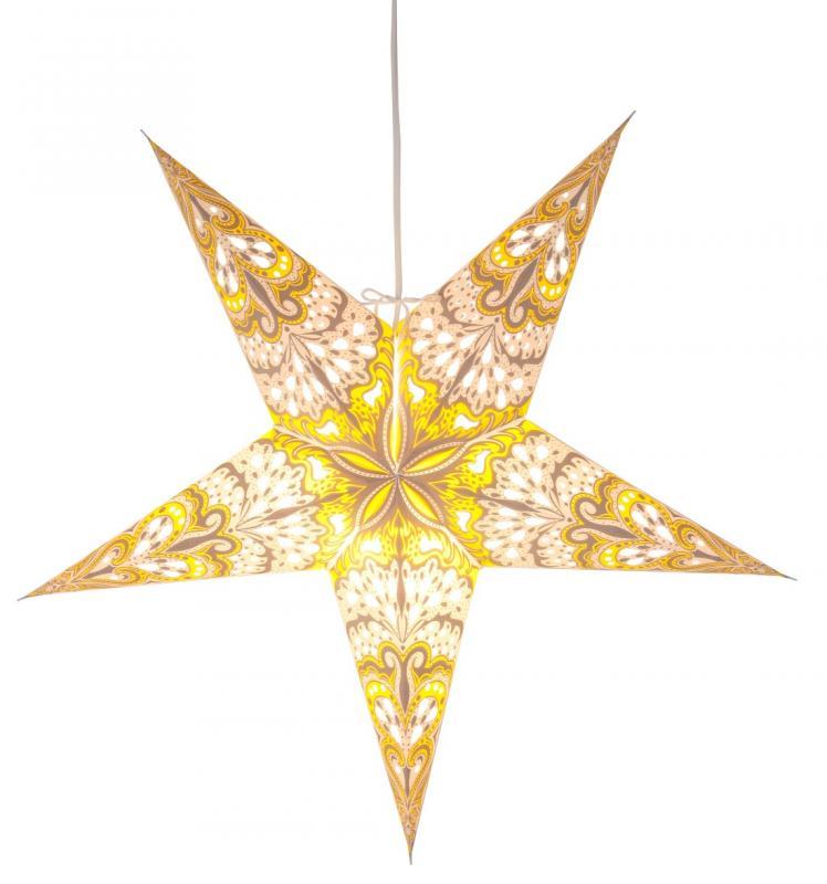Bright Pappersstjärna 60 cm Vit/Grå/Gul