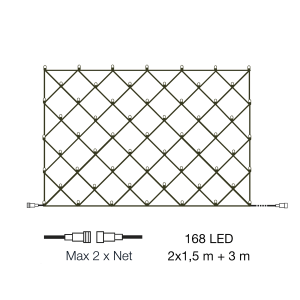 NET Ljusnät 2m 12V Varmvit IP44