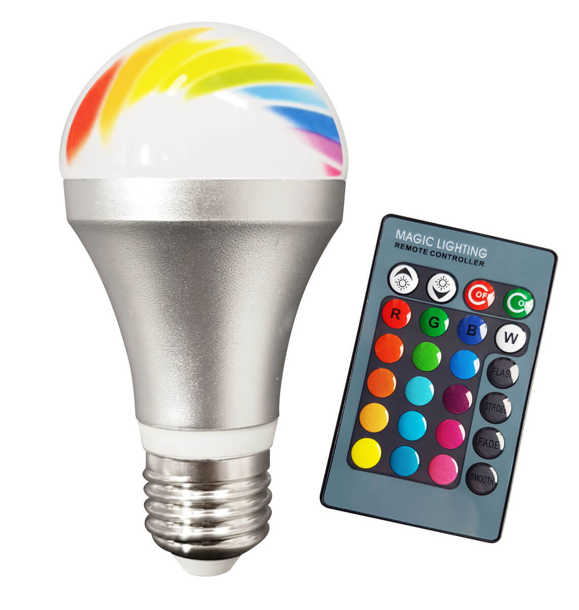 Toppen E27 LED RGB Lampa - Fjärrkontroll FE-66