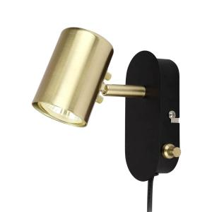 BALDER Vägglampa 14,5cm Svart/Matt Mässing
