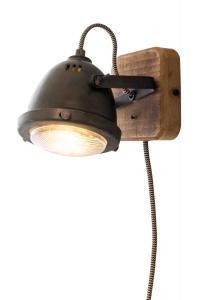 ALASKA Vägglampa 18,5cm Järngrå/Trä