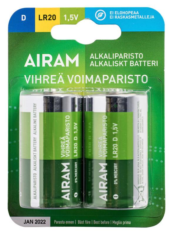 GRÖN POWER 2-Pack LR20 D 1,5V Batteri