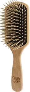 TEK Large paddle brush with long wooden pins, Natural color