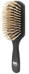 TEK Large paddle brush with long wooden pins, Black