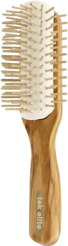 TEK Big curved row brush in olive wood with short wooden pins