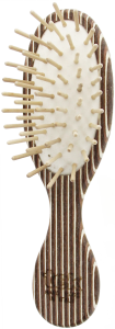 TEK Small oval brush in kaleidowood with short wooden pins (brown, white, wenghé)