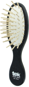 TEK Small oval hair brush with short wooden pins Black